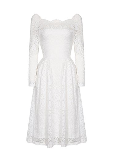 REMASIKO-Womens-Off-Shoulder-Lace-Wedding-Homecoming-A-Line-Cocktail-Dress-White-Large