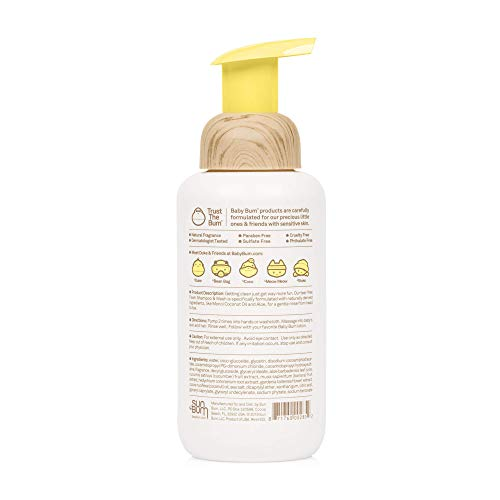 31kG0QAvjrL Baby Bum Shampoo & Wash | Tear Free Foaming Soap for Sensitive Skin with Nourishing Coconut Oil | Natural Fragrance | Gluten Free and Vegan | 12 FL OZ    Size:1 - Pack Ultra-Gentle Foaming Wash with Sea Minerals, Monoi Coconut Oil, Banana, Aloe and White Ginger. Keeping squeaky clean is super fun with our foaming head to toe, tear-free Shampoo & Wash. Specifically formulated to be gentle on baby's skin using some of earth's most treasured ingredients. A gentle full body cleanser the entire family is sure to love.