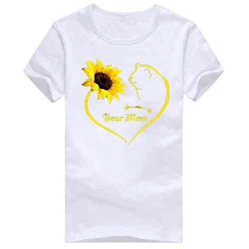 TUSANG Women Tees Girls Plus Size Elephant Print Short Sleeved T-Shirt Blouse Tops Slim Fit Comfy Tunic(E-White,US-6/CN-M) (Tee Short Layered Sleeved Girls)