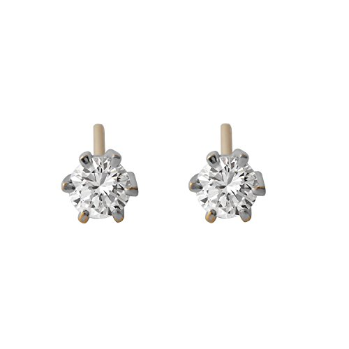 0.5 Carat Natural Diamond 18K Two Tone Gold Solitaire Stud Earrings for ()