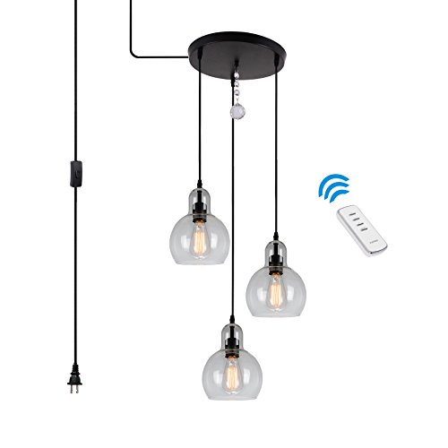 HMVPL 3-Lights Antique Glass Chandelier Pendant Light with 16 Ft Plug-in Hanging Cord and 60 Yards Remote Control, Classic Rustic Lighting Fixture for Kitchen, Dining Room (Max - Cord 16' Pendant