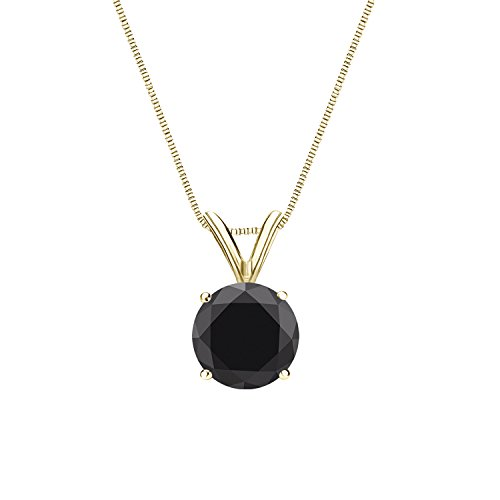 14k Yellow Gold Round Solitaire Black Diamond Pendant Necklace (1 1/2cttw) 4-Prong Set with 18-inch chain by Diamond Wish