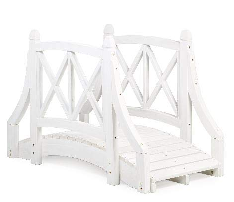 Genevra- Wooden Bridges for Yard-Adding Instant Charm to Your Garden-Color White Canadian Hemlock 4 Ft