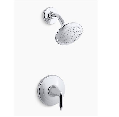 Kohler TS45106-4E-CP Rite-Temp shower valve trim with lever handle and 2.0 gpm showerhead