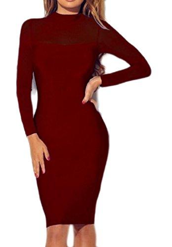 Coolred-femmes Perspective Manches Longues Maille Soir Fête Élégante Couleur Unie Robe Pattern4