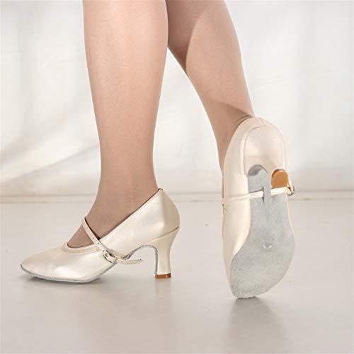 Ballo Fondo Beige Con Partito Ballo Per Latino Da Elegante Donna Danza Moda Tacco Moderna Affari Lavoro Latino Scarpe Morbido Shopping Sexy Di qCAwgz1