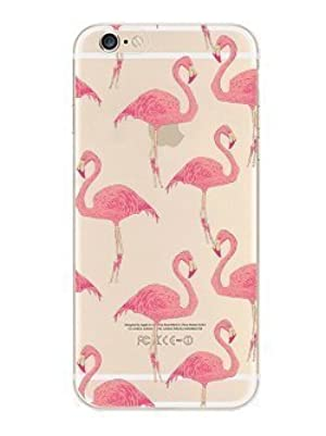 iPhone 7 , Colorful Rubber Flexible Silicone Case Bumper for Apple Clear Cover - Flamingo Overloaded