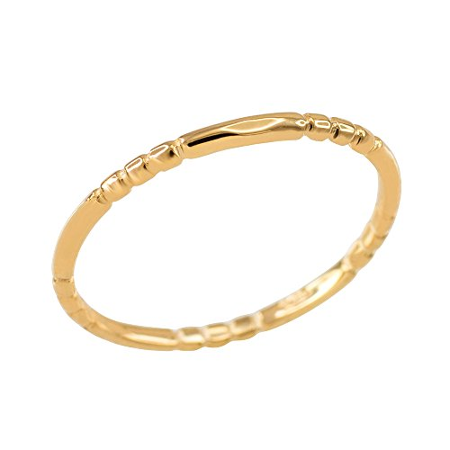 Gold Beaded Ring - Finger Beaded Knuckle Ring in 10k Yellow Gold (Size 11)