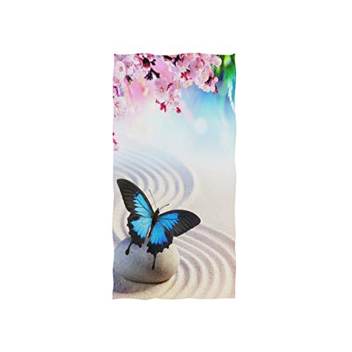 (Naanle Butterfly in Japanese Rock Garden Sand Wave Sakura Cherry Blossom Zen Design Soft Bath Towel Absorbent Hand Towels Multipurpose for Bathroom Hotel Gym and Spa 30