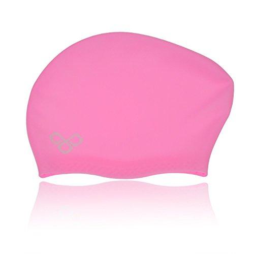 Vitchelo Waterproof Extra Large Swim Caps for Long Hair - Silicone Swimming Cap Dreadlocks Women & Ladies That Keeps Hair Dry (Pink)