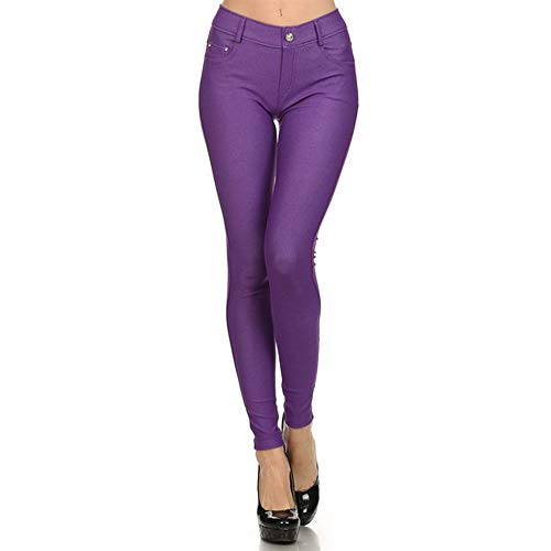 Women's Solid Color Soft Skinny Stretch Pants Full Length Jeggings with 5 Pockets Size S-L (Purple, Large) ()