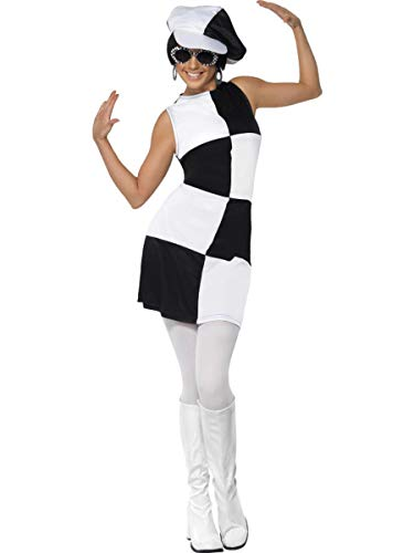 2 PC 1960s Mod Retro Party Gal Black & White Colorblock Dress w/Hat Costume -