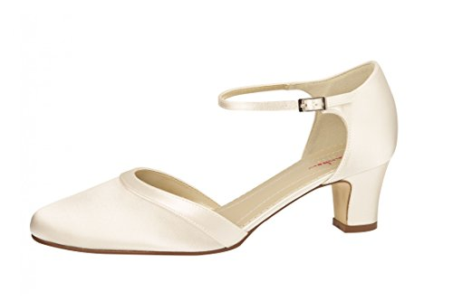 Elsa Coloured Shoes 301022 - Zapatos de vestir de Satén para mujer Blanco marfil Blanco - Weiß/White