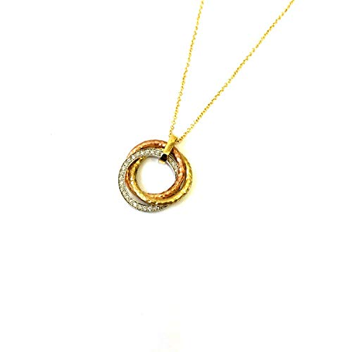 Solid 14k tri color hammered and matte gold and diamond interlocked multi color 20mm circles on yellow gold rolo chain