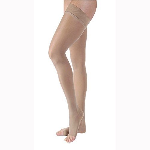 BSN Medical/Jobst 119769 Ultra Sheer Compression Stocking, Thigh High, 20-30 mmHg, Open Toe, Classic Black, Medium, Pair ()
