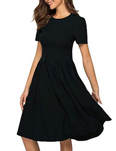 AOOKSMERY Women Casual Cotton Mid Pleat Dress Short Sleeve O-Neck Dresses with Pocket (Dark Black Short, Large)