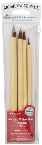 Royal & Langnickel RSET-9149  Royal Zip N' Close Brown Bamboo 4-Piece Brush Set