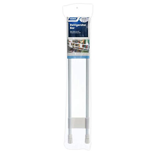 "Camco 34"" Double RV Refrigerator Bar, Holds Food and Drinks in Place During Travel, Prevents Messy Spills, Spring Loaded and Extends Between 19"" and 34"" - White (44074)"