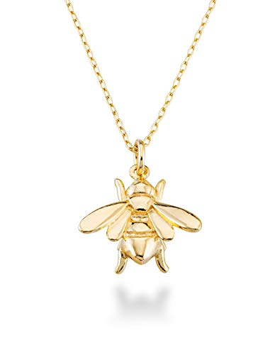 Bee Charm Necklace (MiaBella 925 Sterling Silver Italian Bee Charm Pendant Necklace Jewelry for Women, Girls, Choice of Sterling Silver or 18K Yellow Gold Over Sterling Silver, 18