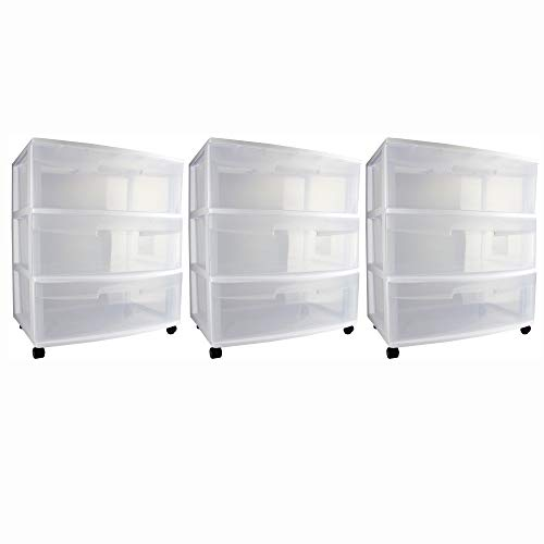 Sterilite Home 3 Drawer Wide Storage Cart Portable Container