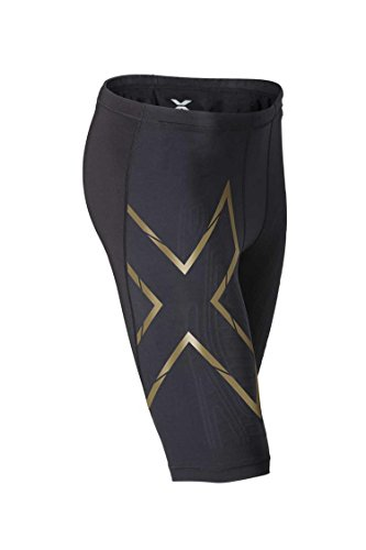 2XU Men's Elite MCS Compression Shorts, Black/Gold, Medium