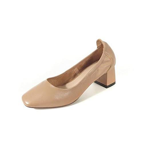 Chunky Talón Talón Chunky Nappa Mujer Zapatos Confort QOIQNLSN Negro Primavera De e567db