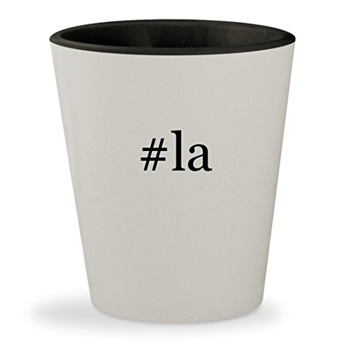 #la - Hashtag White Outer & Black Inner Ceramic 1.5oz Shot Glass (Airline To Tickets Las Vegas)