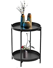 NUKEE Metal Small Accent Side Table,2-Tier Folding End Table,Circle Coffee Table Sofa Side Snack End Table with Removable Tray for Living Room