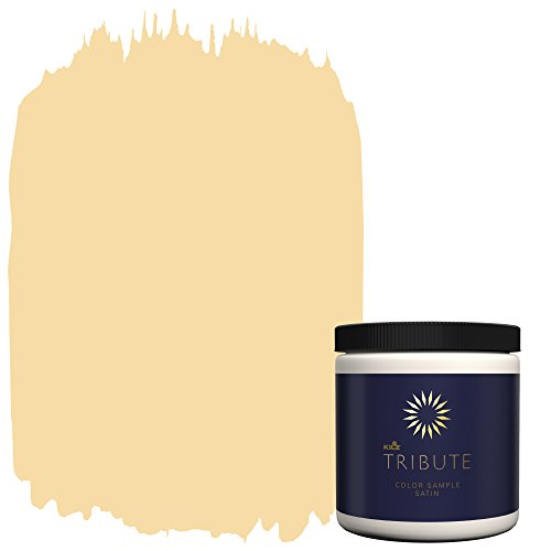 KILZ Tribute Interior Satin Paint & Primer in One, 8-Ounce Sample, Yellow Lotus (TB-84)