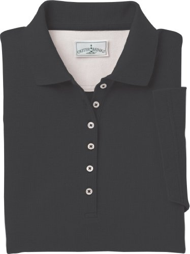 (Outer Banks Ladies 6 oz. Egyptian Diamond Knit Polo - BLACK - S)