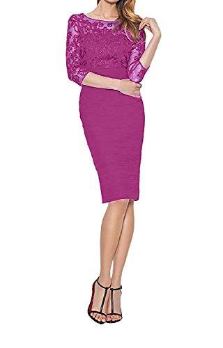 Spitze Partykleider Abendkleider Chiffon La Braut 3 mit Geraft Standsamt Etukleider Ballkleider Kleider mia 4 Langarm Pink xIXrIw0