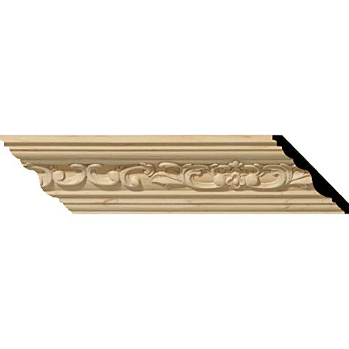Ekena Millwork MLD04X04X06MECH 4 3/4-Inch H x 4 7/8-Inch P x 6 3/4-Inch F x 96-Inch L Medway Carved Wood Crown Moulding, Cherry