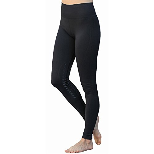 Goode Rider Designer Seamless Tights Knee Patch Charcoal Heather XL