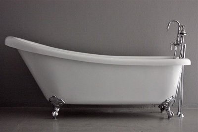 73 long single slipper coreacryl acrylic clawfoot tub with chrome feet faucet supply - Acrylic Clawfoot Tub