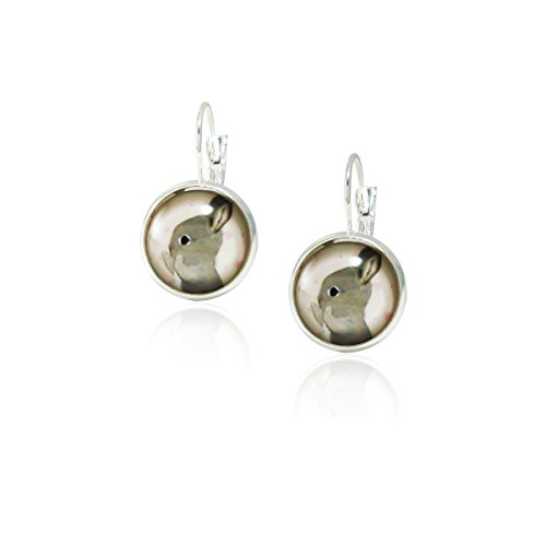 Rabbit Vintage Antique Retro Style, Glass Round Drop Earrings with Leverback Closure Jewelry -