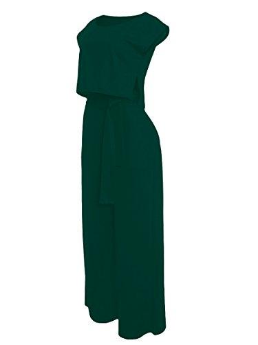 VLUNT Women's 2 Pieces Jumpsuits Outfit Crop Top Wide Leg Pants with Belt,Dark Green-M by VLUNT (Image #4)