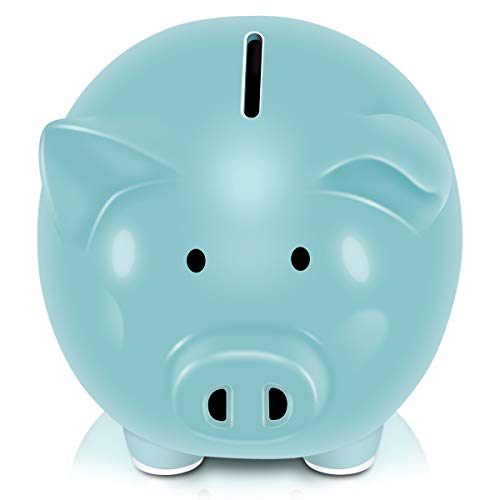 Koicaxy Piggy Bank, Child to Cherish Ceramic Pig Money Piggy Banks for Boys Girls Kids (Blue)