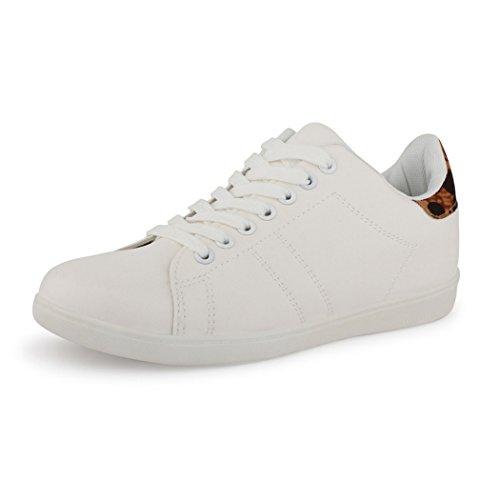 best-boots Damen Herren Low-Top Sneaker Flats Turnschuhe Retro Weiß / Leo