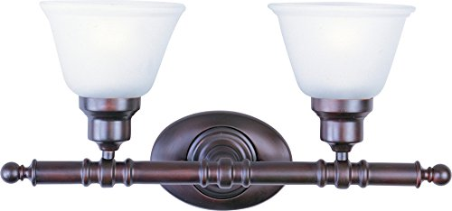 Maxim 7142FTOI Essentials 2-Light Bath Vanity Wall Sconce, Oil Rubbed Bronze Finish, Frosted Glass, MB Incandescent Incandescent Bulb , 60W Max., Dry Safety Rating, Standard Dimmable, Imitation Silk Shade Material, Rated Lumens by Maxim Lighting