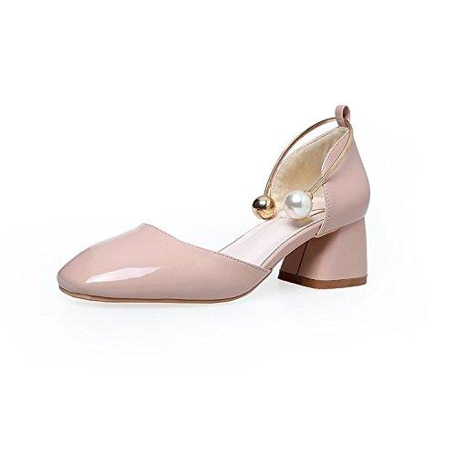 Hrcxue le Rugueuses et 空 Tête haute talons Pied Bague Perle Light-painted Chaussures en cuir avec une seule femelle. 39 1l2P6Y