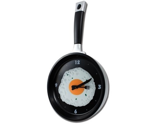 StealStreet SS-KD-1919E Frying Pan and Eggs Wall Clock with Utensils as Arrows, 14, Black