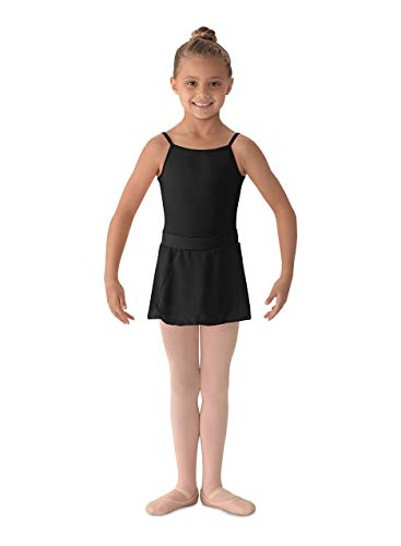 Mirella Girl's Georgette Mock Wrap Dance Skirt Black Small