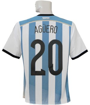 クラシック行き当たりばったり影響力のある(アディダス) adidas 2014アルゼンチン代表 ホーム 半袖 アグエロ ワールドカップバッジ付 フルマーキング仕様 AI216-G74569