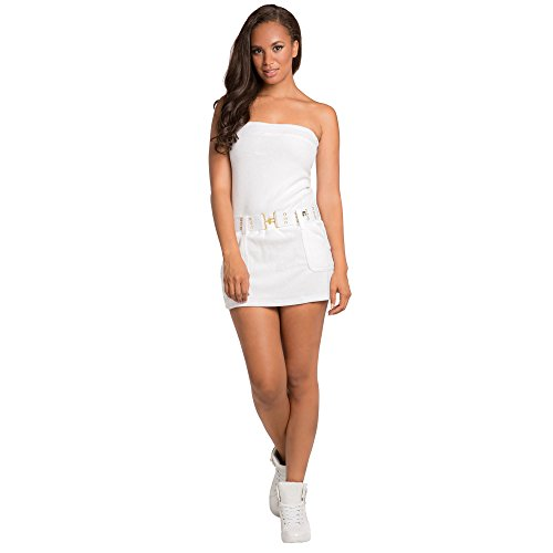 Sweet Vibes Junior Womens Tube Dress Stretch Terry Cloth with Contrast Belt Size S White ()