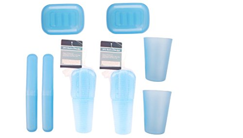UrbHome 3-Piece Travel Bathroom Kit with Leak-Free Design   Includes Traveling Toothbrush Holder Case, Soap Dish & Bath Tumbler Plastic   BPA-Free Travel Tooth Brush Organizer (2 Pack)