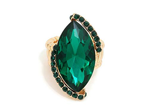 Gold Tone Green Ring - Occasions Gift Giving Marquise Crystal Rhinestone Stretch Cocktail Ring (Green & Goldtone)