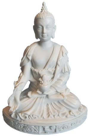 """RK Collections 5.5"""" Buddha Statue Small in White Marble Finish. Meditating Buddha Figurine."""