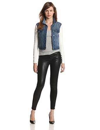 BCBGeneration Women's Faux Leather Sleeve Cropped Denim Jacket, Blue, X-Small