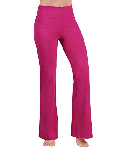 ODODOS Power Flex Boot-Cut Yoga Pants Tummy Control Workout Non See-Through Bootleg Yoga Pants,Fuchsia,Large (Best Bootlegs Of All Time)