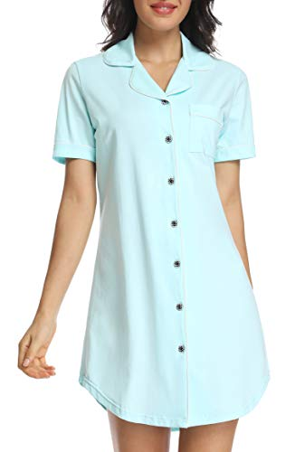 - N NORA TWIPS Women's Nightshirt Short Sleeve Button Down Nightgown V-Neck Boyfriend Sleepshirt Pajama Dress